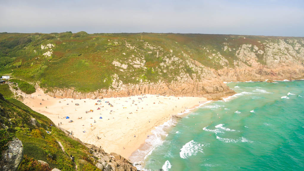 A view of Porthcurno beach, voted time and time again as the best beach in Cornwall.