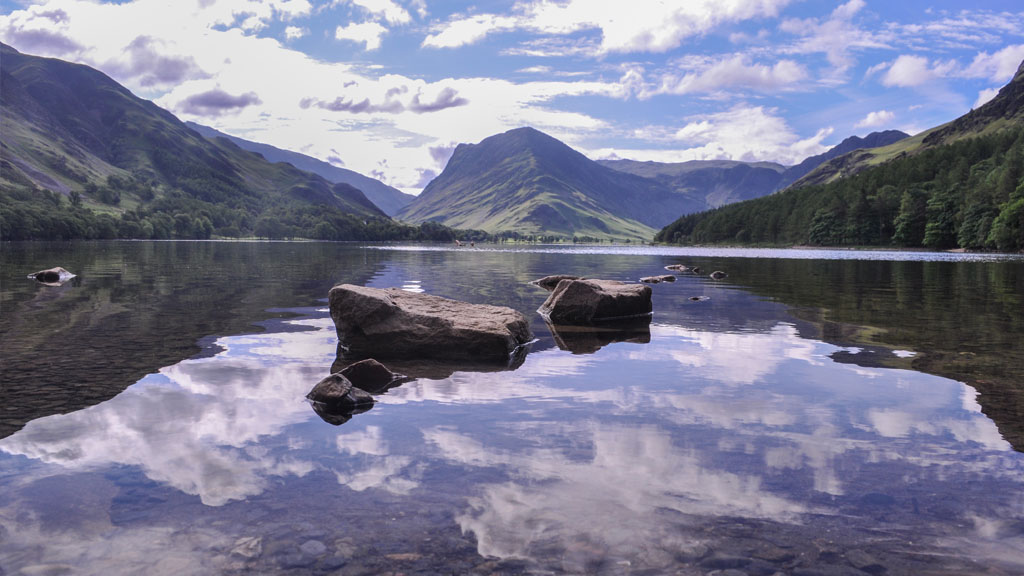 Wonderful reflections at ground-level in Buttermere.