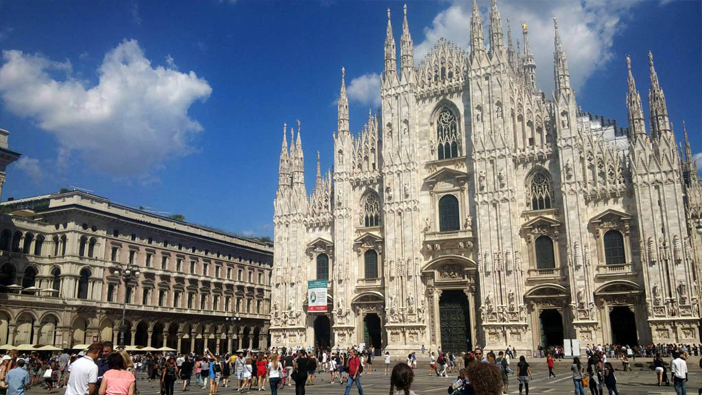 The awesome Milan Cathedral in the Piazza del Duomo.