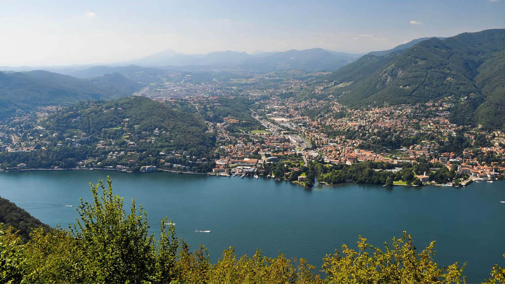 The view from Brunate, overlooking Como, its provinces and astonishing faraway mountains.