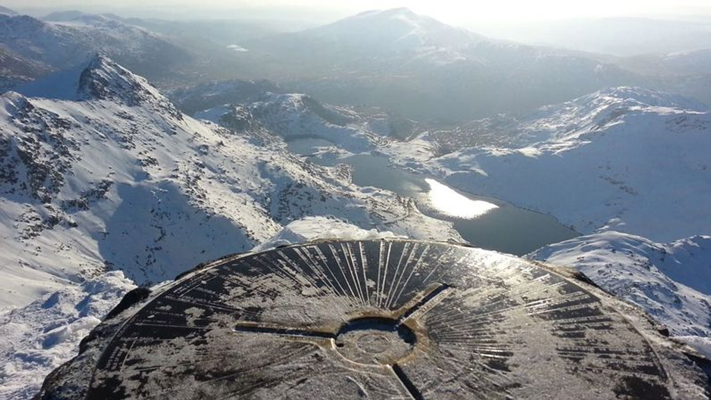 The trig point at the top of Mount Snowdon. Photo source: mountain-forecast.com.