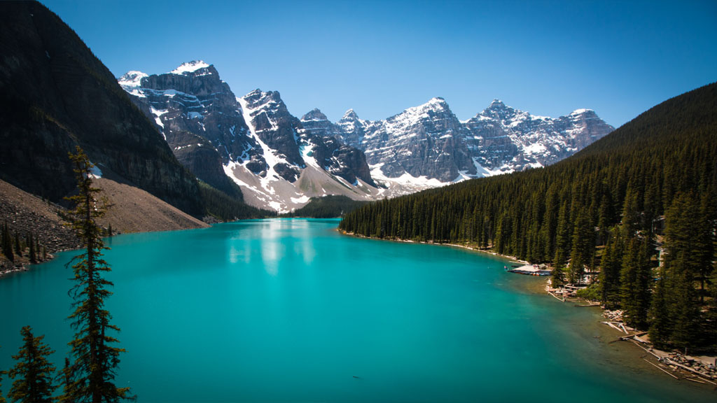 The greatest view in the Banff National Park, Moraine Lake.