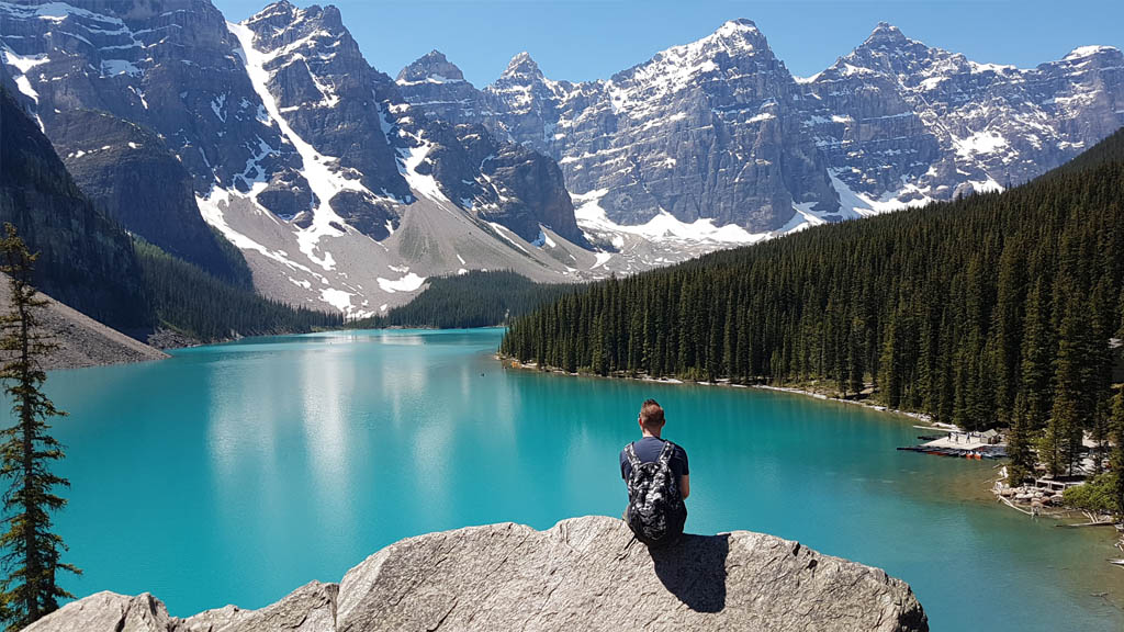 Taking a moment (or twenty) to soak in the awesome view of the Valley of the Ten Peaks and Moraine Lake.