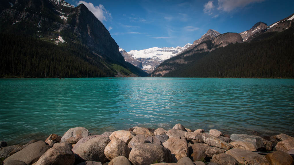 Lake Louise shows off its unique beauty from the shoreline.