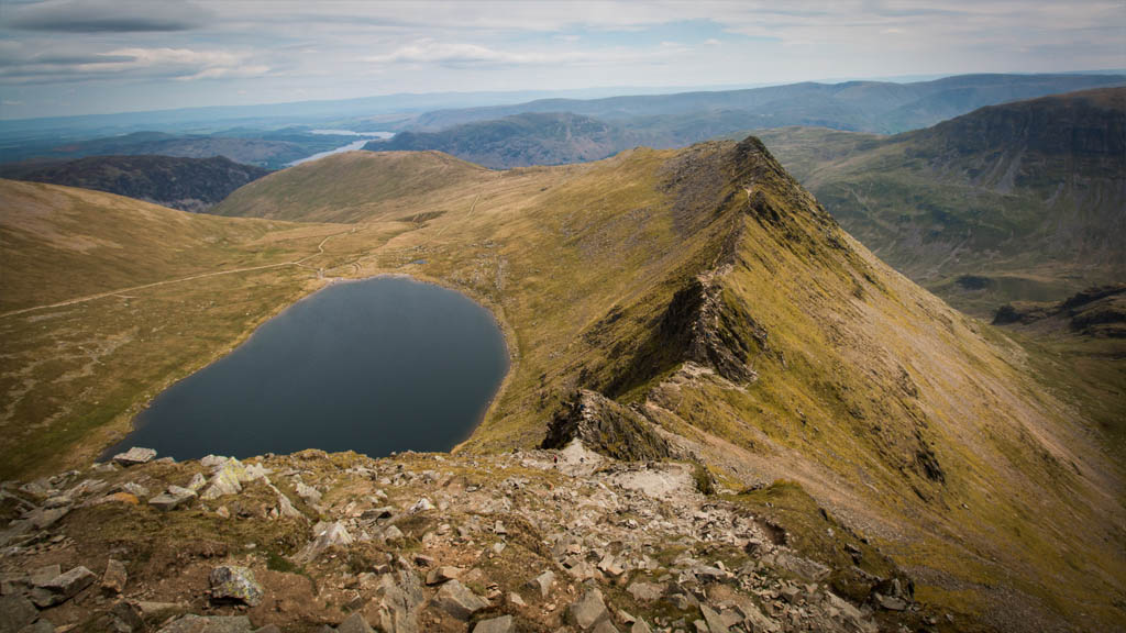 The mighty Striding Edge and its sidekick Red Tarn, a compelling freebie on this day trip to Helvellyn.