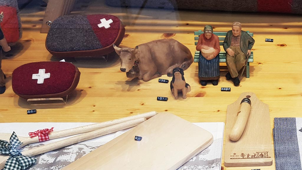 Some of the offerings at the local gift shops in Interlaken