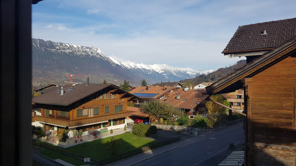 Amazing views of Interlaken and the mountain ranges at Lake Brienz from my room