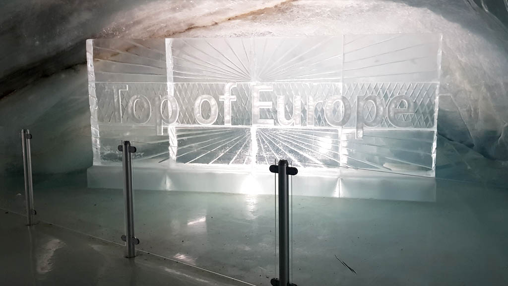 'Top of Europe' sign made of ice (of course) at the Ice Palace